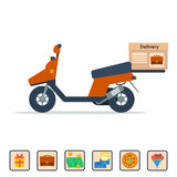 Vector Scooter to deliver goods Stock Photography