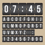 Vector scoreboard Clock, black and white flip numbers and alphabet. Scoreboard black and white Alphabet and Numbers Stock Photos