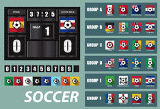 Vector Scoreboard with National Team Flags Template Stock Images