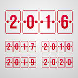 Vector scoreboard 2016, 2017, 2018, 2019, 2020 year red flip symbols. Set of new year red symbols Royalty Free Stock Photos