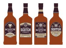 Vector scotch whisky labels on bottles. Vector brown and gold scotch whisky labels on bottles. Distilling business branding and identity design elements royalty free illustration