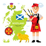 Vector Scottish bagpiper. Flat style colorful Cartoon illustration. Stock Photo