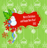 Vector scrapbook Christmas and New Year card Royalty Free Stock Photo