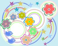 Vector scrapbook elements - flowers and birds Royalty Free Stock Photo