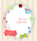 Vector scrapbooking card for baby with text Stock Photography