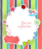 Vector scrapbooking card for baby with text Stock Photos