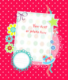 Vector Scrapbooking Card For Baby Pink Dots Royalty Free Stock Image