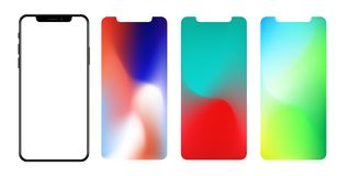 Vector screen wallpaper  gradient mesh masked into phone shape. Vector screen wallpaper gradient mesh masked into phone shape isolate Royalty Free Stock Images