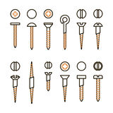 Vector screws nails and wall plugs icon collection. Nuts line set. Constructor elements illustration. Repair bolt Stock Photo