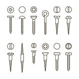 Vector screws nails and wall plugs icon collection. Nuts line set. Constructor elements illustration. Repair bolt Stock Photos