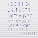 Vector scribble alphabet. On a exercise book sheet r scribble alphabet on a exercise book sheet Royalty Free Illustration