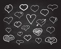Vector scribble chalk heart icons set Royalty Free Stock Images