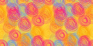 Vector Scribble Circles Seamless Pattern, Background, Bright Colors Illustration. royalty free illustration