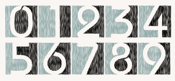 Vector scribbled number set royalty free stock photos