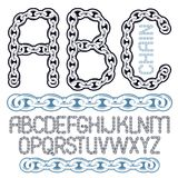Vector script, modern alphabet letters, abc set. Capital creativ. E font made with iron chain, linked connection Royalty Free Illustration
