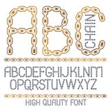 Vector script, modern alphabet letters, abc set. Capital decorat. Ive font created using chrome chain, linkage Royalty Free Illustration
