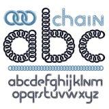 Vector script, modern alphabet letters, abc set. Lower case decorative font created using chrome chain. Vector script, modern alphabet letters, abc set. Lower vector illustration