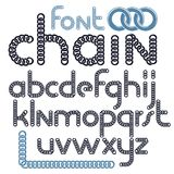 Vector script, modern alphabet letters set. Lower case decorativ. E font created using metal connected chain link Stock Illustration
