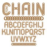 Vector script, modern alphabet letters set. Upper case creative. Font made with steel chain link, joined link Stock Illustration
