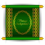Vector scroll banner in royal luxury Moroccan Arabic style. Golden ribbon floral patterns on a green background. Stock Images