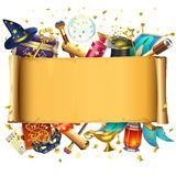 Vector Scroll with Magic Accessories. Isolated on white background royalty free illustration