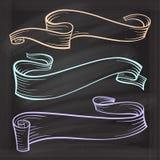 Vector scrolls set on the chalkboard Stock Photo