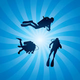 vector scuba divers underwater Stock Photos