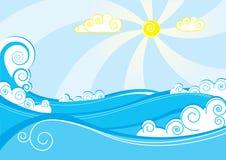 Vector sea. Color vector blue sea.Waves Stock Images