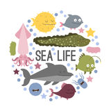 Vector sea animal. Vector. Set of sea life animals. Flat style Royalty Free Stock Photos