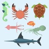 Vector sea animals creatures characters cartoon ocean underwater aquarium life water graphic aquatic tropical beasts Royalty Free Stock Images