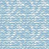 Vector sea background with blue waves and white strokes of paint. Hand-painted with acrylic ink. For design creative background, textile printing, paper Royalty Free Stock Photo