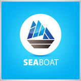 Vector sea boat, ship icon, illustration Royalty Free Stock Photography