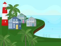Vector sea coast view. Seaside with palm trees backgrounds Stock Images