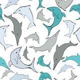Vector Sea Dolphins Seamless Pattern. royalty free illustration