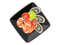 Vector sea food Tomyam in black cup White background stock illustration