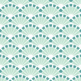 Vector Sea Green Fans Abstract Seamless Pattern Royalty Free Stock Photography