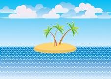 Vector sea and island Royalty Free Stock Photos