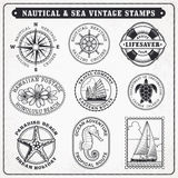 Vector sea journey vintage stamps 2 vector illustration