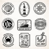 Vector sea journey vintage stamps Stock Images
