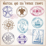 Vector sea journey vintage stamps Royalty Free Stock Photography