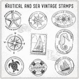 Vector sea journey vintage stamps 2 Royalty Free Stock Image