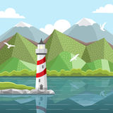 Vector sea landscape with lighthouse Stock Photography