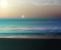 Vector sea landscape with the setting sun Royalty Free Stock Photos