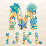 Vector Sea Life Font On Sand Background.
