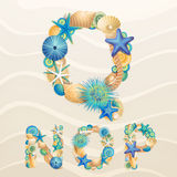 Vector sea life font on sand background Stock Photos