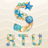 Vector sea life font on sand background. Check my portfolio for other letters, and numbers royalty free illustration
