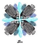 Vector Sea mood Engraved fractal outlet composition. royalty free illustration