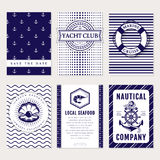 Vector sea and nautical card and banners. Royalty Free Stock Photo