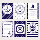 Vector sea and nautical card and banners. Royalty Free Stock Images