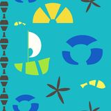 Vector sea objects seamless pattern Stock Photography